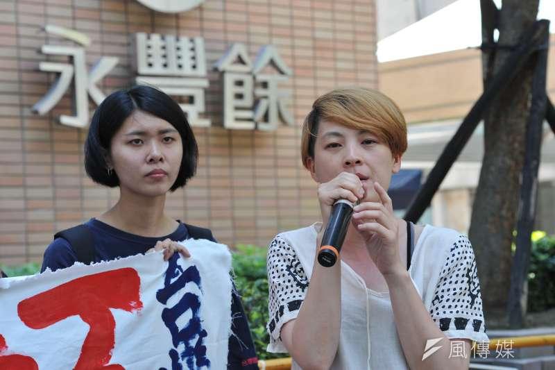 6名台灣人聲援Hydis工人跨海抗爭,二審判無罪定讞。圖為台灣聲援Hydis工人連線去年6月召開記者會。(資料照,甘岱民攝)