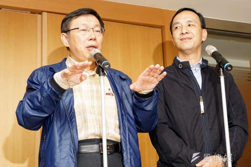 花蓮發生強震,新北市長朱立倫8日代表新北市府團隊捐出100萬元,而台北市長柯文哲上午也在臉書表示,會捐出1個月的薪水。(資料照,蘇仲泓攝)