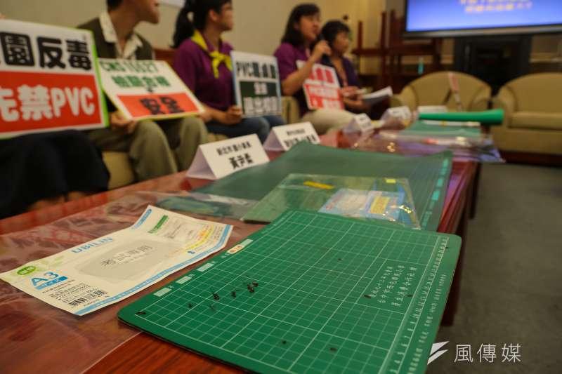 20170628-民進黨立委陳曼麗28日召開「PVC毒桌墊,全面退出校園」記者會。(顏麟宇攝)
