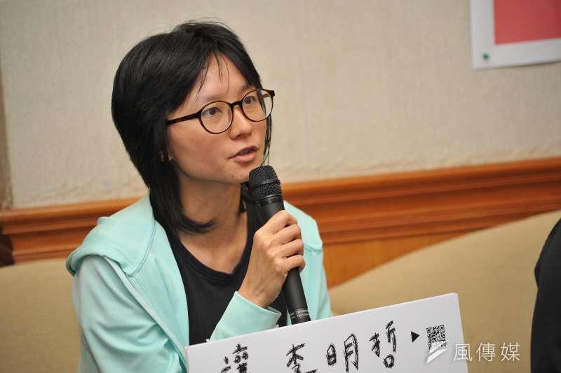 20170707-「中國709大抓捕2週年-讓李明哲及709人們回家聲援」記者會。圖中為台灣人權促濟會秘書長邱伊翎。(甘岱民攝)