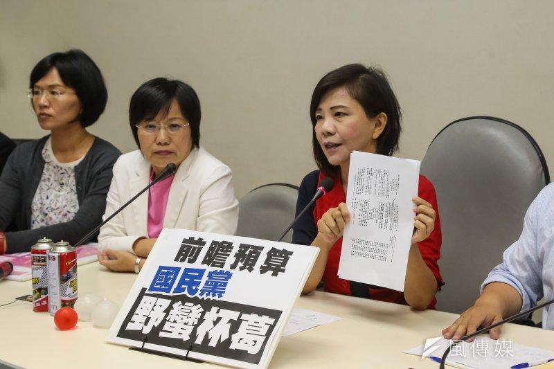 民進黨立委葉宜津、劉世芳、蘇巧慧等14日於前瞻特別預算案表決通過後,於民進黨團召開記者會。(顏麟宇攝)