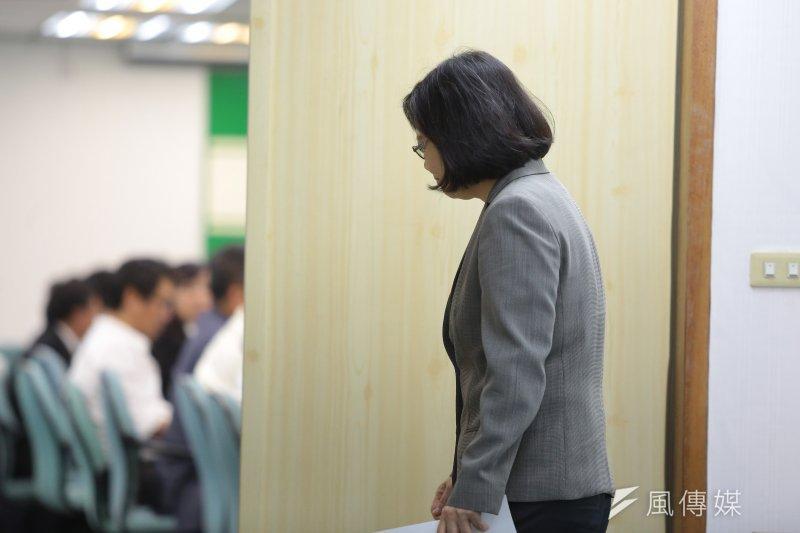總統蔡英文26日出席民進黨中常會。(顏麟宇攝)