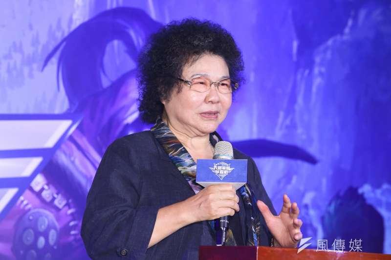 高雄市長陳菊,出席六都電競大賽啟動記者會。(陳明仁攝)