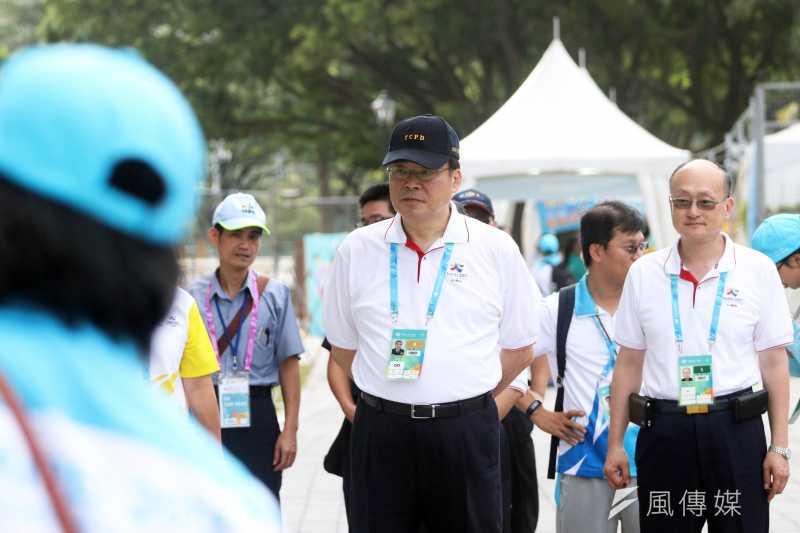 20170804-世大運選手村今日舉行入住測試,圖為台北市警察局長邱豐光特別到場關心。(蘇仲泓攝)