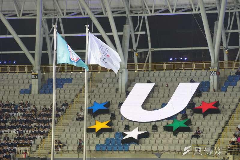 20170805-世大運開幕測試,旗幟飄揚。(盧逸峰攝)