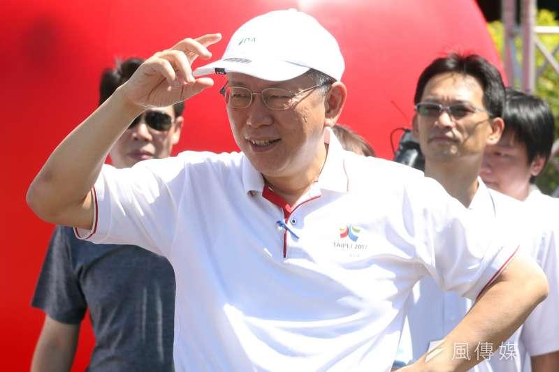 台北市長柯文哲出席「812妝遊嘉年華踩街 造型花車搶先曝光」記者會。(蘇仲泓攝)