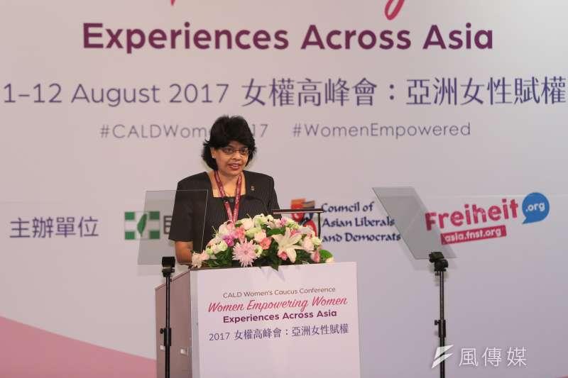 20170811-亞洲自由民主聯盟女權高峰會主席Jayanthi Devi Balaguru 11日出席「2017 CALD 亞洲自由民主聯盟-女權高峰會」。(顏麟宇攝)