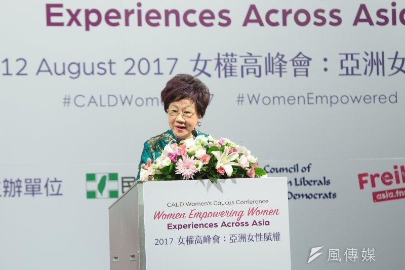 前副總統呂秀蓮11日出席女權高峰會提到,某些團體向她反應,擔心學校的性別平等教育會變成性解放。對此,呂秀蓮表示,性自主很重要但不能氾濫。(顏麟宇攝)