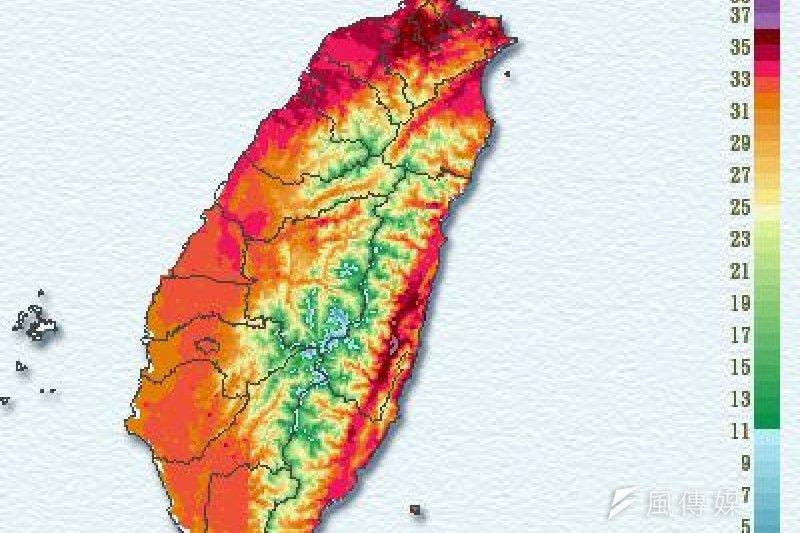 受太平洋副熱帶高壓影響,下周持續高溫,台北地區可能挑戰最高溫38度以上。圖為12日全台氣溫。(中央氣象局提供)