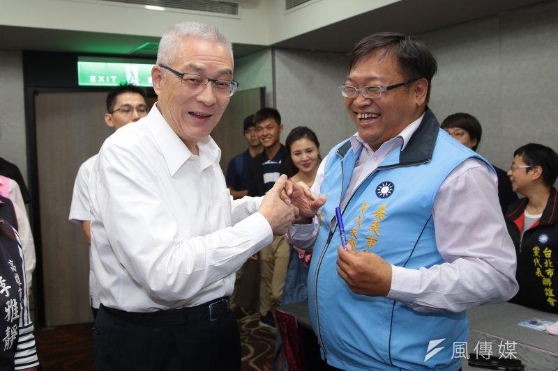 前副總統吳敦義17日會見JCI青商會藍軍會員。(顏麟宇攝)