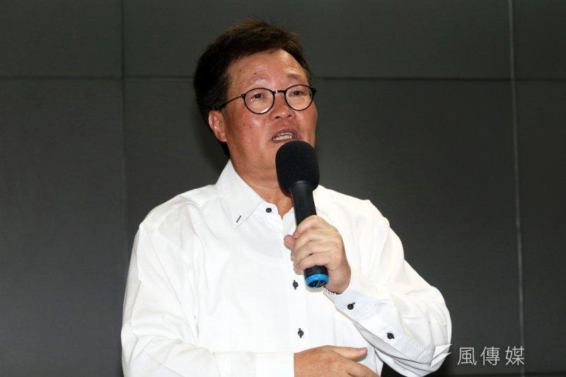 20170818-中油董事長陳金德18日13時在中油召開請辭記者會。(蘇仲泓攝)