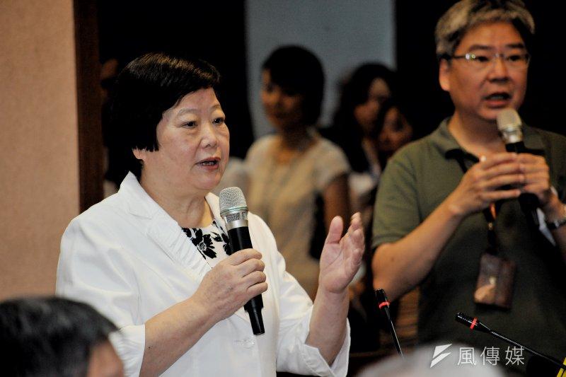 基本工資審議委員會18日開會,會前勞動部部長林美珠致詞。(甘岱民攝)