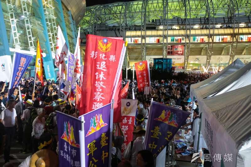 20170819-世大運19日晚間舉行開幕式,反年改團體於會場抗議,一度影響選手進場。(顏麟宇攝)