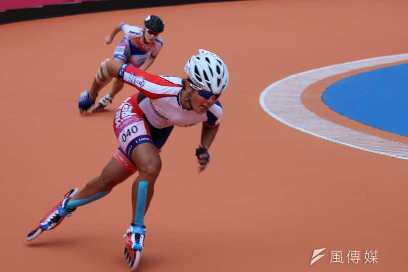 20170823-世大運女子滑輪溜冰3000公尺接力賽由陳映竹(見圖)、李孟竹與蔡合貞出戰,跑出4分25秒026佳績,再度奪冠。(方炳超攝)
