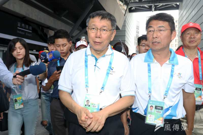 台北市政府23日證實一名菲律賓籍世大運選手染上登革熱,市長柯文哲表示,將選手治療痊癒再送回國,「台灣再怎麼樣比菲律賓醫療好」。(蘇仲泓攝)