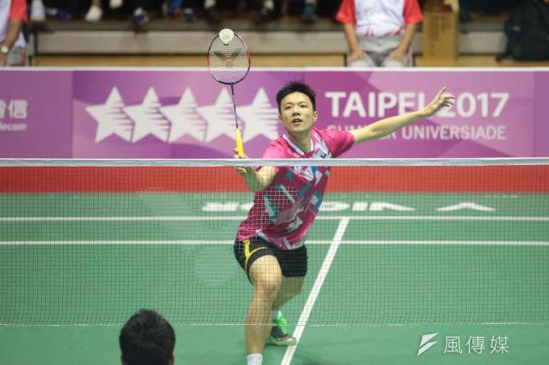 台灣「羽球王子」王子維(圖)12日在2019世界羽聯世界巡迴賽總決賽小組賽第2戰,以21比12、21比17擊退印尼一哥克里斯蒂,奪小組賽首勝。(資料照,顏麟宇攝)