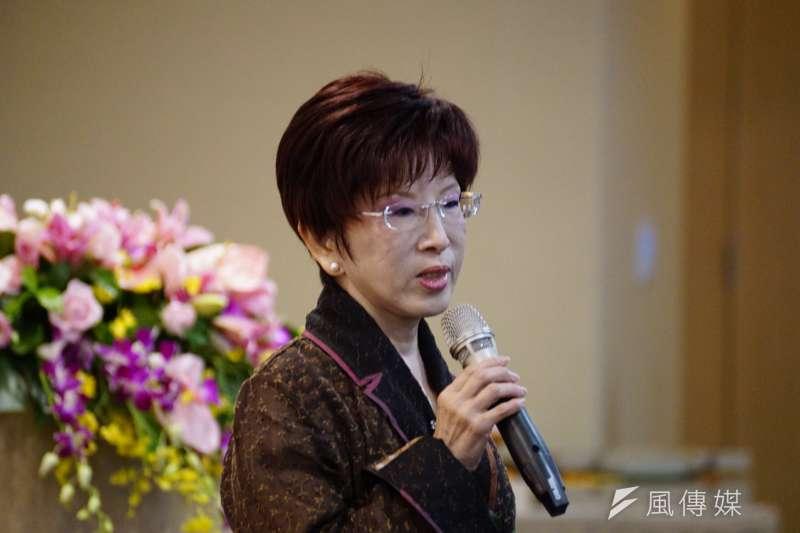 前國民黨主席洪秀柱26日出席「鄭成功收復台灣355周年論壇」,洪秀柱表示,台灣與大陸的連結絕對是切不斷,並呼籲學界好好正視歷史。(盧逸峰攝)