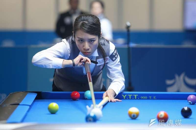 世大運女子撞球單打項目27日下午進行冠軍爭奪戰,台灣女將古正晴以9比6擊敗蒙古Narantuya BAYARSAIKHAN拿下金牌。(陳明仁攝)