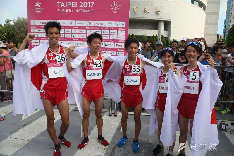 世大運田徑半程馬拉松27日開跑,日本隊拿下男女團體個人4金(陳明仁攝)