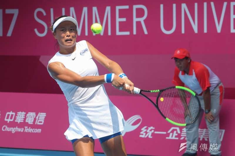 世大運網球女單頭號種子張凱貞並列銅牌,頒獎典禮因傷病休養無法出席。(陳明仁攝)