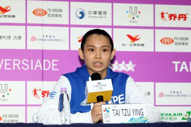 世大運女單奪金的戴資穎說,身為台灣人,她覺得應該要支持這個比賽,跟大家一起努力奮鬥。(蘇仲泓攝)