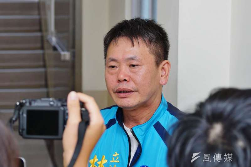20170830-國民黨團大會,會後林為洲受訪。(盧逸峰攝)