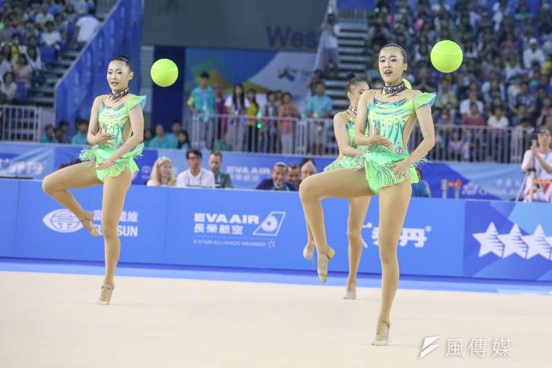 20170829-圖集-韻律體操-棒及帶勁與美的競技,中華女子韻律體操團體單項「3球2繩」決賽奪銀。(陳明仁攝)