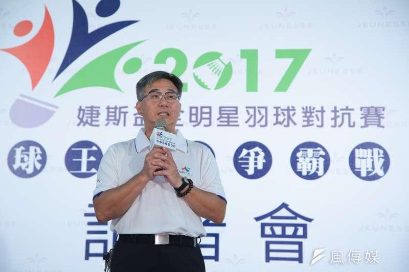 20170831-台灣羽球大聯盟理事長陳奕良31日出席「婕斯盃全明星對抗賽」賽前記者會。(顏麟宇攝)