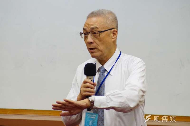 國民黨黨主席吳敦義,出席台灣新願景論壇協會「青年活水營」。(盧逸峰攝)