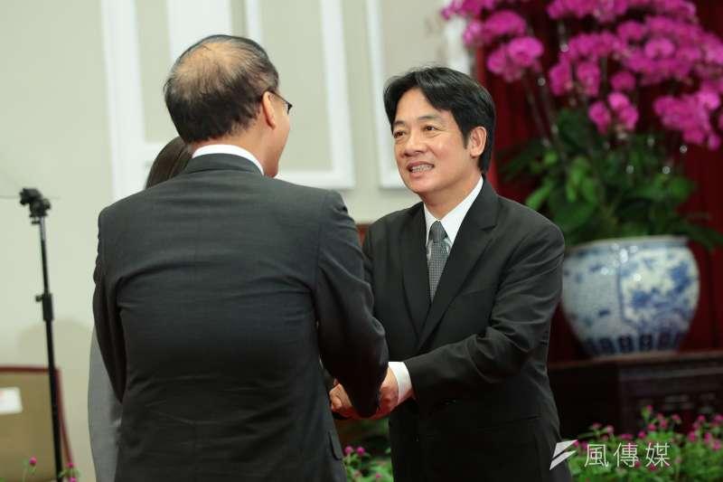 台南市長賴清德5日親自出席新任行政院長公佈記者會,並確定接任。(顏麟宇攝)