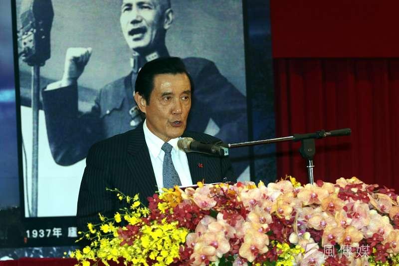 前總統馬英九也到場出席餐會。馬英九致詞時也酸民進黨以「一事不二議」,扼殺在野黨權利。(蘇仲泓攝)