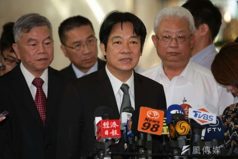 針對台灣非政府組織工作者李明哲「被認罪」,行政院長賴清德12日表示,「頗令人遺憾」,希望中國能儘速放人。(顏麟宇攝)