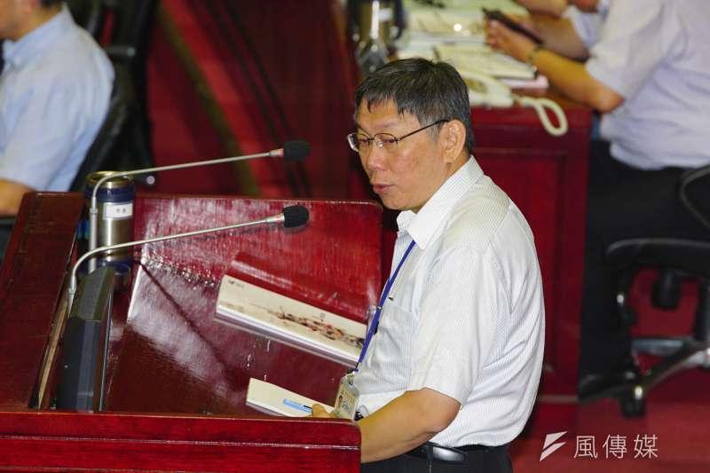 台北市長柯文哲赴市議會進行施政報告。(盧逸峰攝)