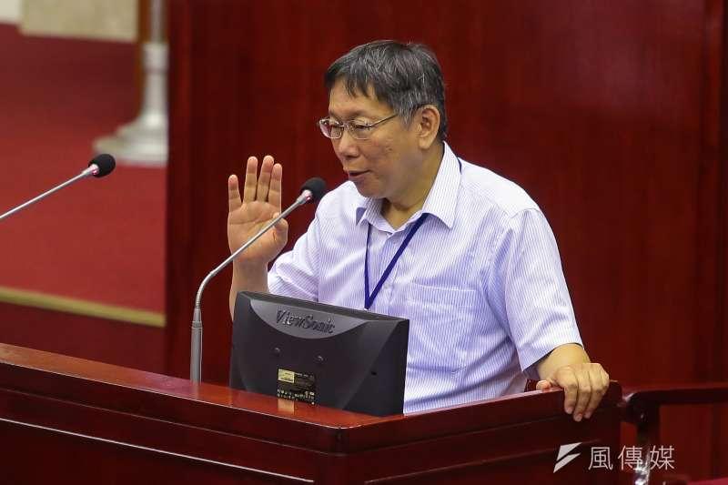 台北市長柯文哲20日至台北市議會備詢。(顏麟宇攝)