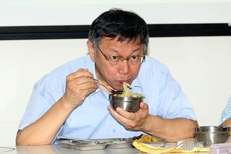 台北市長柯文哲出席「醫護團隊結合 社區據點,共餐據點服務再加值」記者會。(蘇仲泓攝)