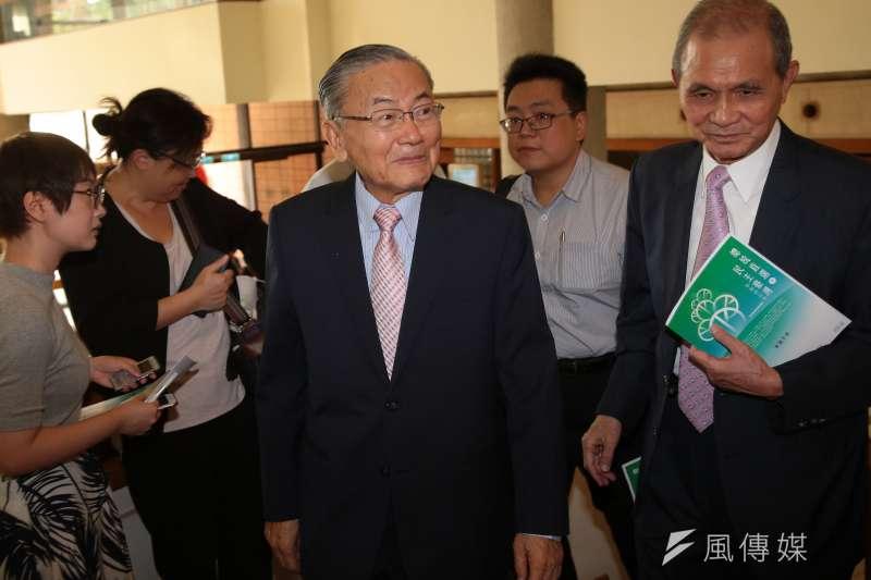 前總統府秘書長詹春柏23日出席「總統直選與民主台灣」學術研討會。(顏麟宇攝)