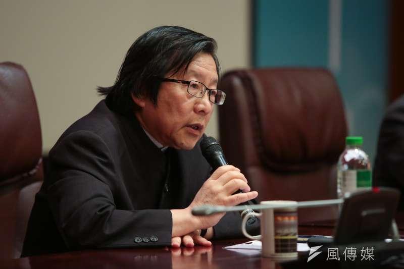 前總統府秘書長邱義仁23日出席「總統直選與民主台灣」學術研討會。(顏麟宇攝)