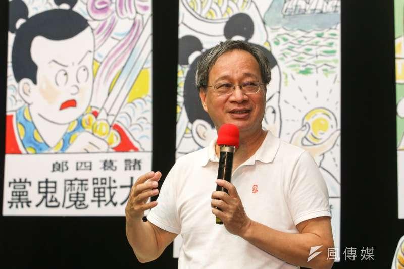 作家小野出席紙風車劇團年度新戲「諸葛四郎」記者會。(陳明仁攝)