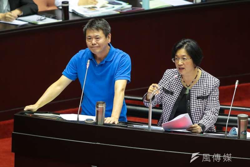 國民黨立委林為洲、王惠美26日於立院質詢。(顏麟宇攝)