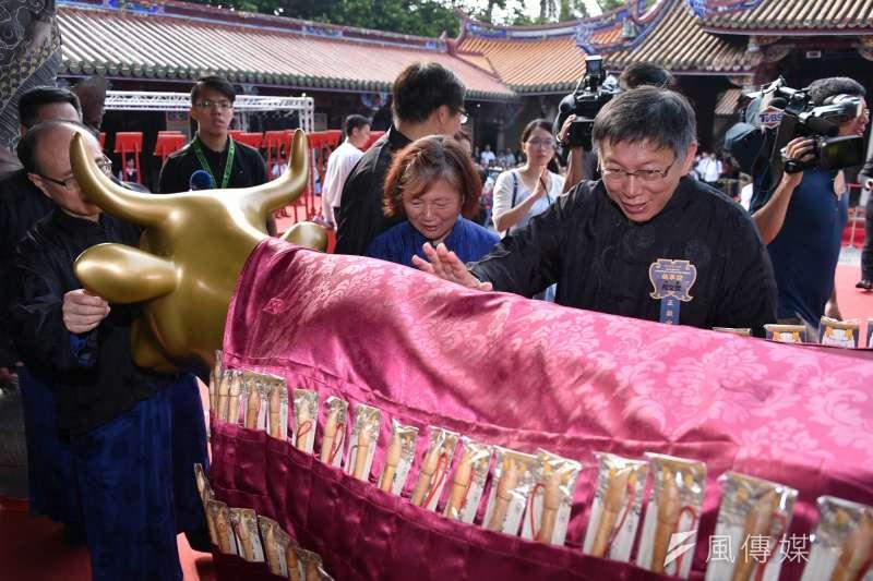 台北市長柯文哲說他中國書讀得不少,論語也背得熟,文化上是「中華文化圈」。柯文哲主持紀念大成至聖先師孔子誕辰2567週年釋奠典禮02。(北市府提供)