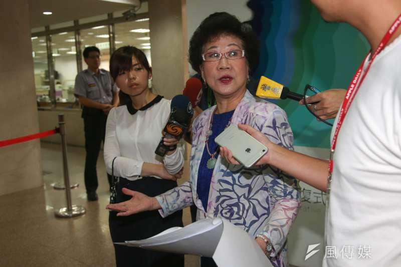 前副總統呂秀蓮28日為告發「富邦金控合併台北市銀」案出庭,並誓言幫台北市民討回300億。(陳明仁攝)
