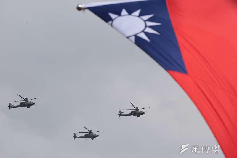 民進黨執政下的「中華民國」顯然發生歷史的斷裂。圖為陸軍航特部於國慶大會預演活動表演。(顏麟宇攝)