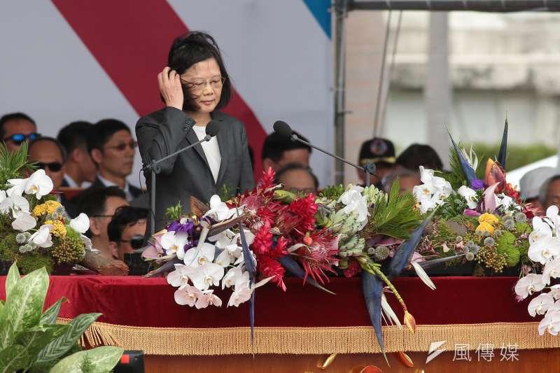 蔡英文總統出席中華民國106年國慶典禮致詞。(顏麟宇攝)