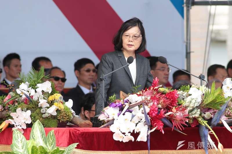 L20171010-總統蔡英文10日出席中華民國106年國慶典禮,並於現場演說致詞。(顏麟宇攝)