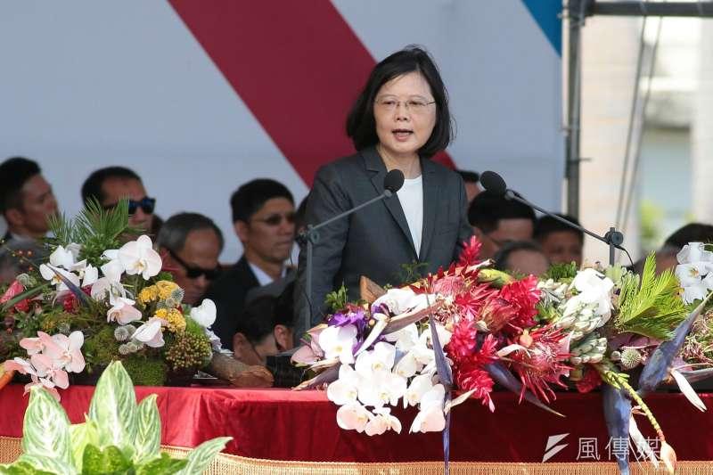中華民國106年度國慶日,總統蔡英文致詞。(顏麟宇攝)