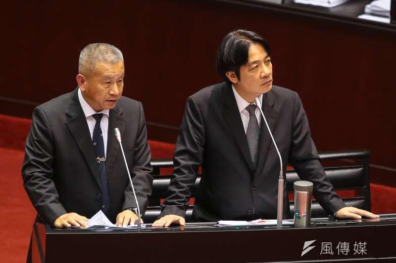 國防部副部長蒲澤春、行政院長賴清德13日至立院備詢,針對慶富案做回應。(顏麟宇攝)