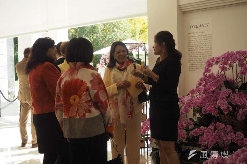 全歐最大的台灣蝴蝶蘭展,大使夫人們出席踴躍。(尹俞歡攝)