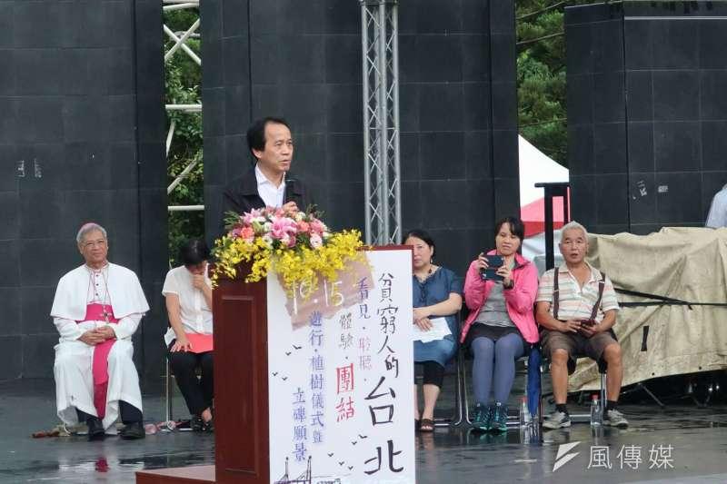 2017-10-15-台北市副市長林欽榮出席《貧窮人的台北》植樹儀式。(朱冠諭攝)