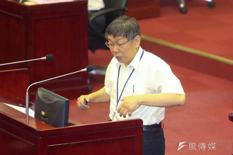 台北市長柯文哲赴台北市議會專案報告,就北市促參、招商、都更、公宅等面向報告。(陳明仁攝)