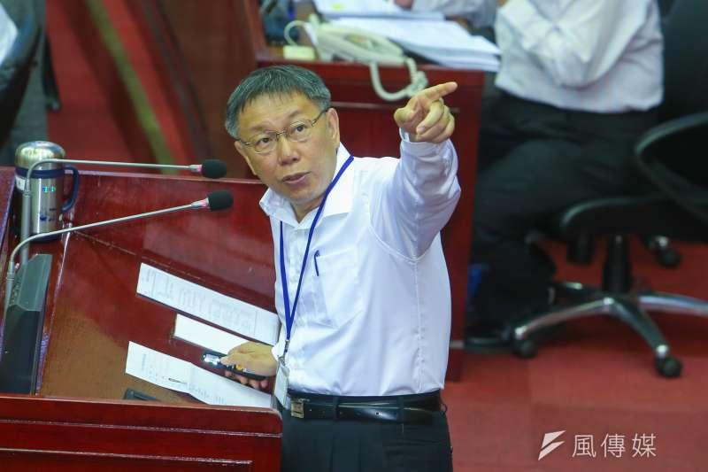 台北市長柯文哲到台北市議會作施政及總預算案報告與詢答。(陳明仁攝)